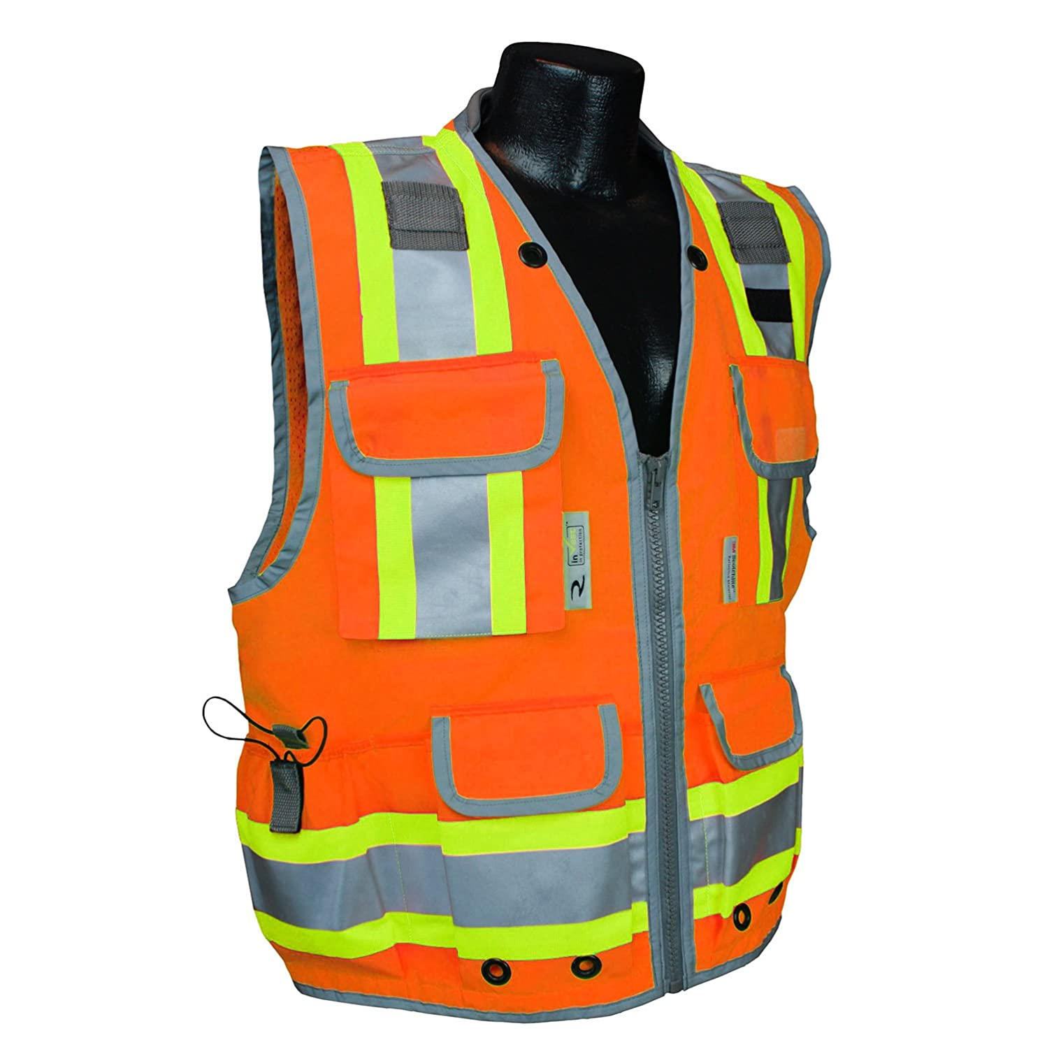 Radians SV55-2ZOD-3X Class 2 Heavy Woven Two Tone Engineer Safety Vest, Hi Viz Orange, 3X-Large