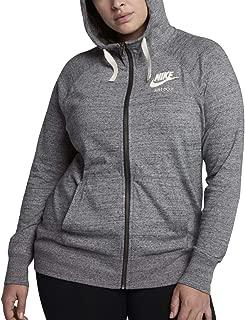 Nike Women's Sportswear Gym Vintage Full-Zip Hoodie (3X-Large, Carbon Heather/Sail)