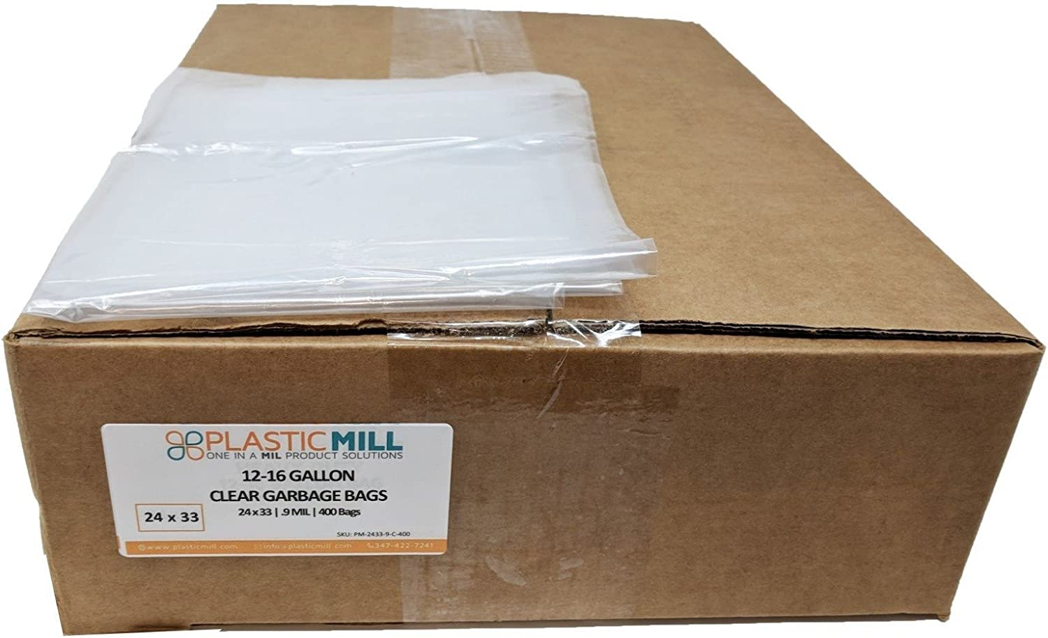 PlasticMill 12-16 Gallon, Clear, 0.9 MIL, 24x33, 400 Bags Case, Garbage Bags Trash Can Liners.