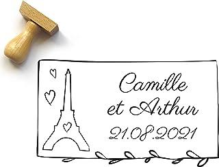 Timbro personalizzato matrimonio con Torre Eiffel, stile francese, parigino, con nomi e data, rettangolo, 5 x 3 cm