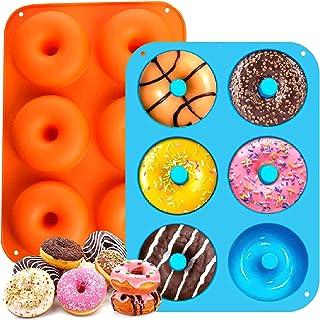 Moules à Donuts en Silicone ,2 Pièces Moules à Donuts en Silicone Antiadhésif, pour Muffins, Biscuits, Chocolats, Gâteaux,...