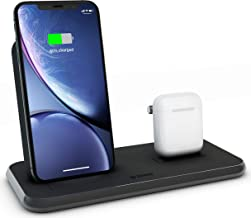 ZENS Wireless Aluminium Docking Station, 10-Watt Charging Stand and Lightning Dock, Qi and MFi Certified, Supports Apple Fast Charge, Power Adaptor Included, Black