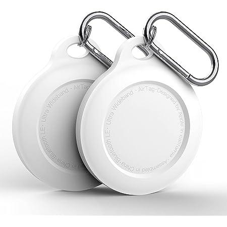 B Wlabe Protection en Silicone Peau Compatible avec Airtags Case Cover Bluetooth Tracker Couverture Airtags Accessoires avec Porte-cl/és Gris en Cuir Manches