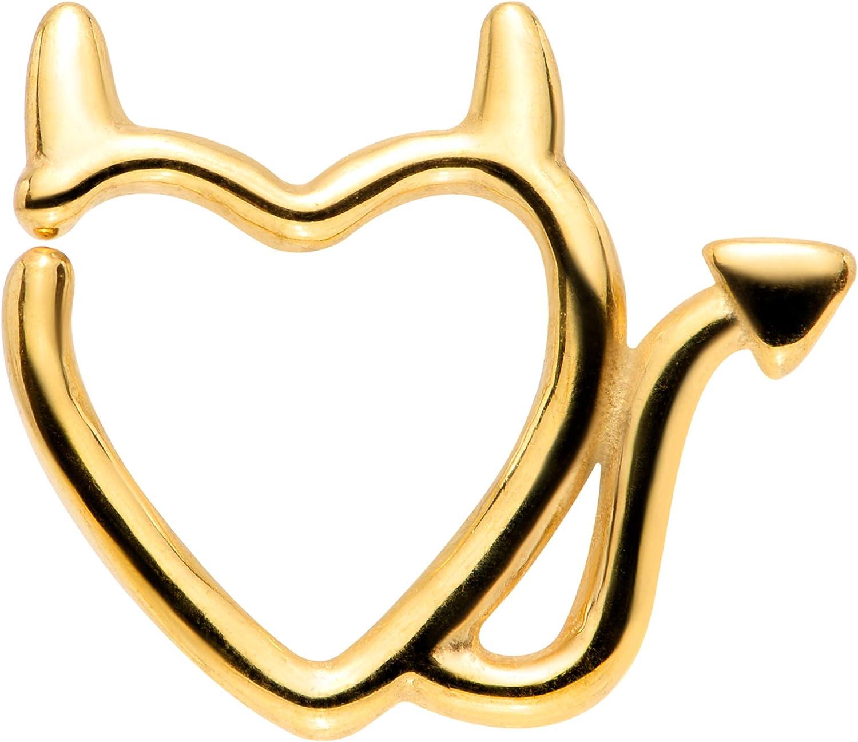Body Candy Unisex 16G PVD Steel Little Devil Heart Left Ear Closure Ring Daith Helix Tragus Rook 5/16