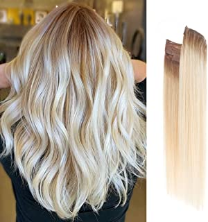 Vanalia Premium Remy Human Hair Halo Hair Extensions, Honey Blonde Ombre to Platinum Blonde, 16 Inch. 100 Gram