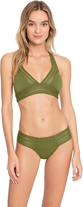 Robin Piccone Women's Perla Mixed Crochet Halter Bikini Top