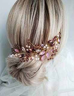 Aimimier Bridal Pink Purple Crystal Hair Vine Amethyst Marquise Opal Crystal Headband Boho Wedding Hair Accessories for Wo...
