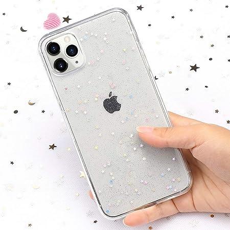 LAPOPNUT Coque iPhone 11 Glitter Étoiles Paillette Housse,Transparent Anti-Choc TPU Silicone Souple Etui de Protection pour iPhone 11