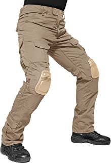 TACVASEN タクティカルパンツ 戦闘服 ワークパンツ アメリカ 長ズボン 大きいサイズ 迷彩柄 カーゴパンツ 膝パッド付キ カーキ M