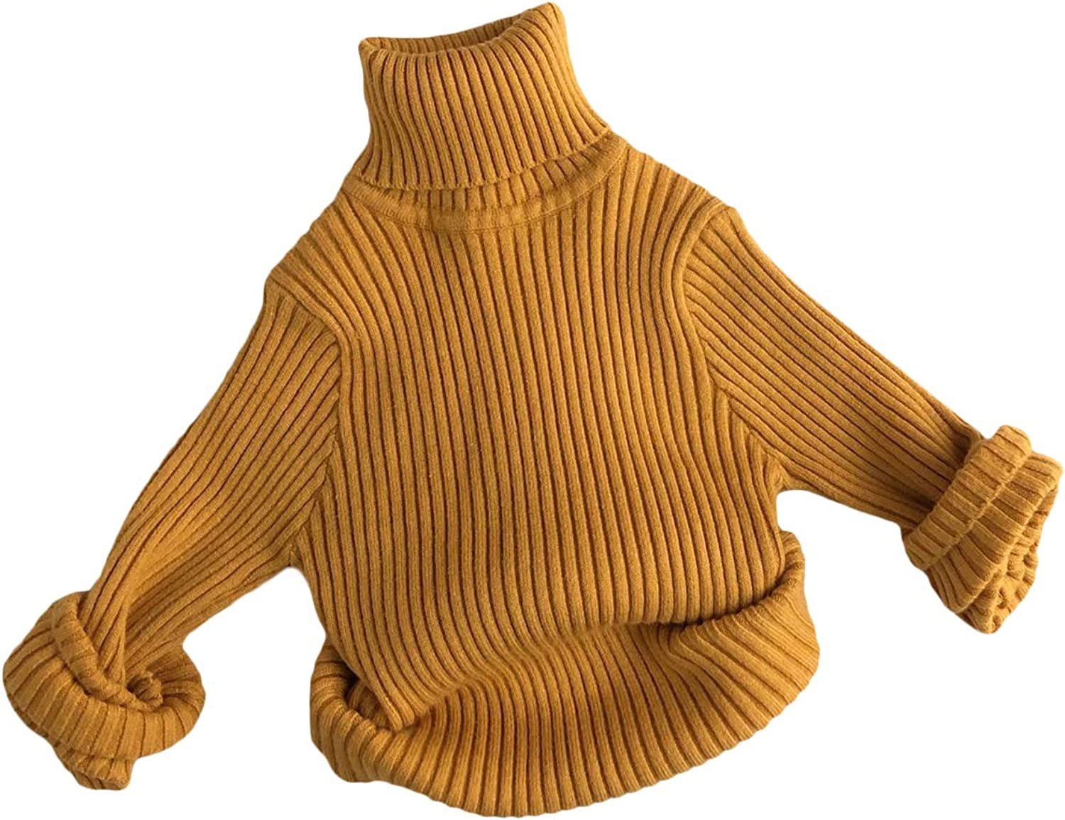 Toddler Boy Girl Fall Clothes Solid Turtleneck Knit Long Sleeve Sweater Pullover Unisex Kid Winter Warm Tops Oufit
