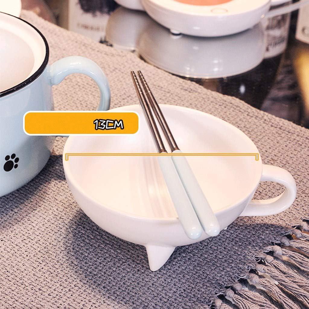 Instant Chat Mignon Bol De Nouilles Avec Couvercle Japonais /Étudiant En C/éramique Ramen Bol /À Soupe Dortoir Mignon Bo/îte /À Lunch Fille Avec Poign/ée Microwaveable Bureau Bowl Color : Blue