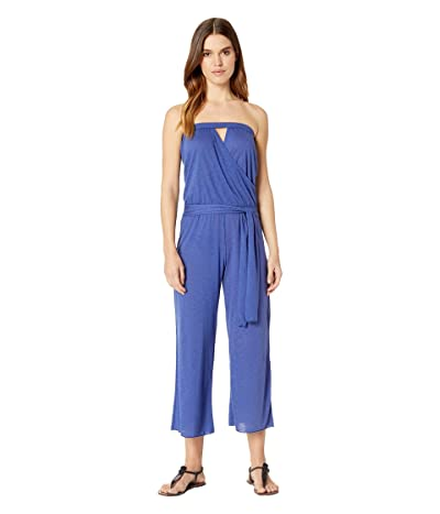 BECCA by Rebecca Virtue Breezy Basics Cropped Jumpsuit Cover-Up (Blue Topaz) Women