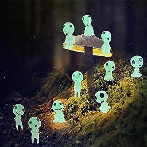 Garden Statues Gnome Statue Figurine Fairy Garden Accessories Glow in Dark Tree Elves Miniature Decor Luminous Ghost 10pcs kit for Micro Landscape Gnomes Garden Outdoor Patio Lawn Yard (10PCS)