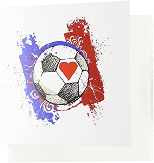 3dRose I Love Soccer - Greeting Cards, 6 x 6 inches, set of 12 (gc_62269_2)