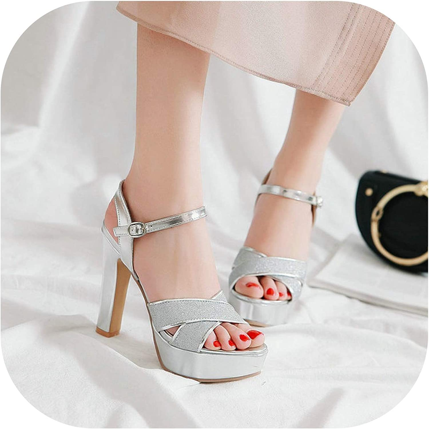 Women Summer Platform High Heels Sandals Buckle Open Toe Buckle Sq re High Heels Pumps Party Dress shoes Female 2019 Size 43