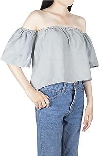 Women's Off Shoulder Blouses Short Sleeve Sexy Tops Ruffle Casual T Shirt