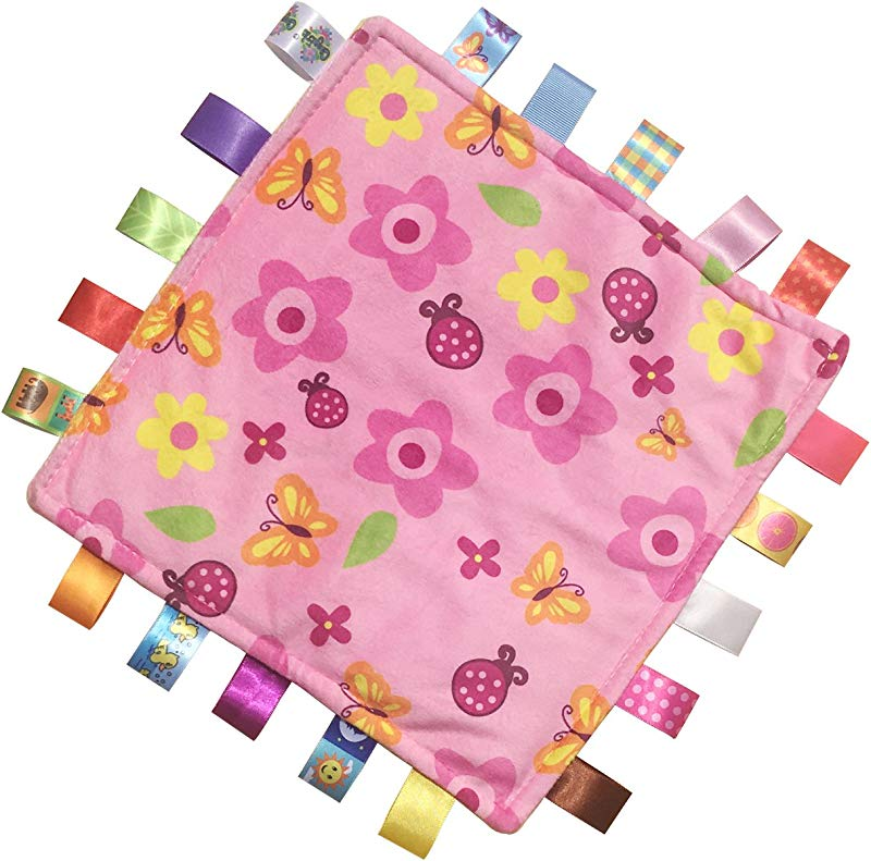 Baby Security Blanket With Satin Tags Infant Plush Sensory Toy Pink Soft Girls Teething Toy Perfect For Shower Gift