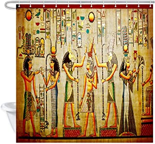 JAWO Egyptian Shower Curtain, Egyptian Pharaoh Old Natural Paper from Egypt, Bathroom Curtains Polyester Fabric Waterproof Bath Decor Hooks Included 69x70inches