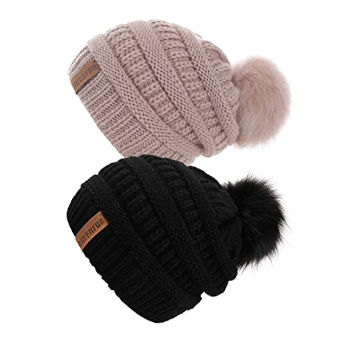 QUEENFUR Women Knit Slouchy Beanie Chunky Baggy Hat with Faux Fur Pompom  Winter Soft Warm Ski 797e141422a