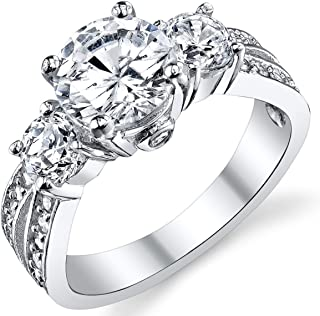 """1.50 Carat Round Cubic Zirconia"""" Past, Present, Future"""" Sterling Silver 925 Wedding Engagement Ring"""
