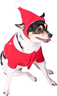 Clever Creations Red and White Santa's Outfit and Hat Christmas Dog Outfit   Festive Holiday Pet Costume   Perfect for Many Breeds   Measures 17