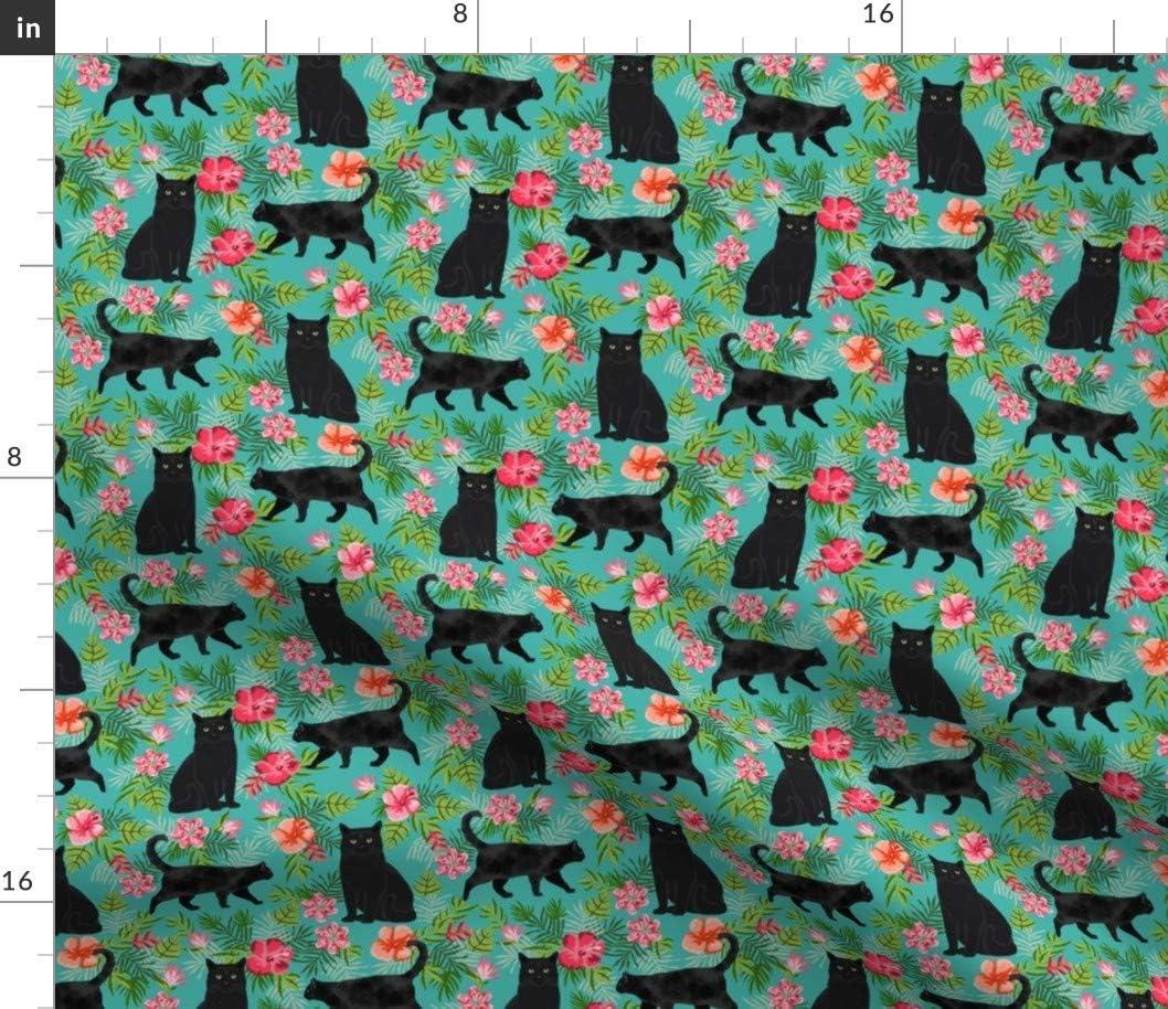 Max 50% OFF Spoonflower Fabric - Max 80% OFF Hawaiian Black Cat Tropical Floral Turq