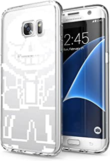 Clear Case for Samsung Galaxy S7 Edge Video Game Undertale Characters Sans Pattern {Word} TPU Bumper Anti Scratch Thin Protective Cover