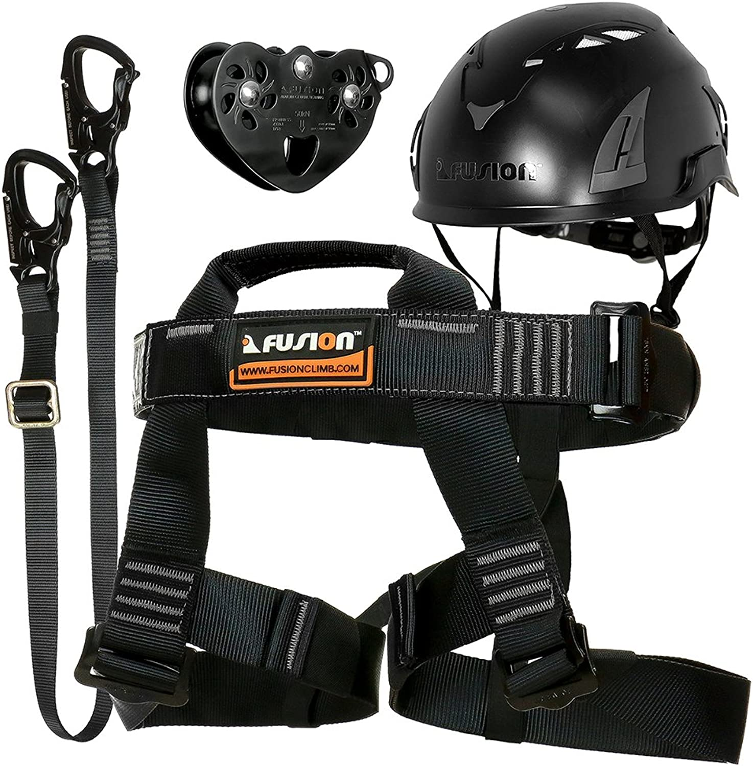 Fusion Climb FTKAHLTH07 Adults Commercial Zip Line Kit Harness Lanyard Trolley Helmet Bundle