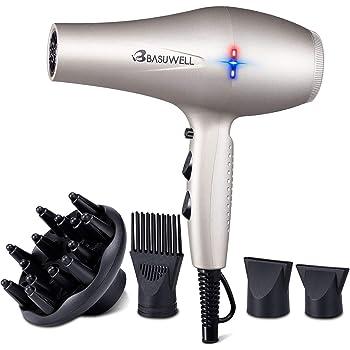 Basuwell Sèche Cheveux Professionnel 2100W, Salon Sèche Cheveux avec Diffuseur,Peigne et Buse, Puissant AC Moteur (argent)