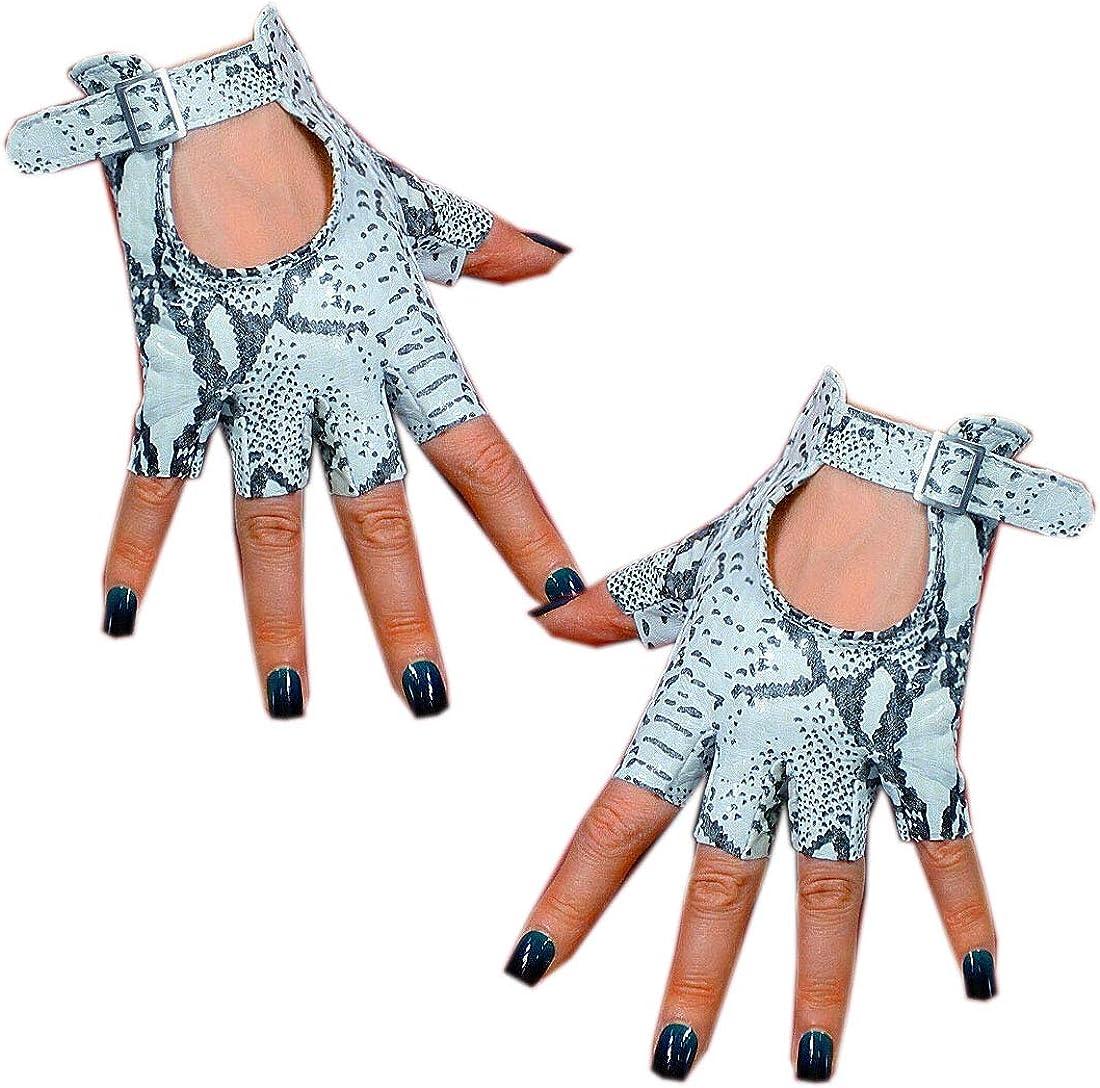 Women Real Leather Fingerless Short Work Gloves Silver Square Buckle Half Finger Snake Work