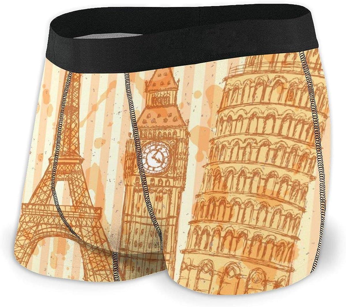 Mens Boxer Briefs Eiffel Tower, Pisa Tower, Big Ben, Statue of Liberty Breathable Underwear