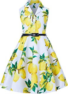 Girls Vintage Dresses Floral Print Sleeveless Swing Retro Casual Party Wedding Frocks with Belt for 6-13Y