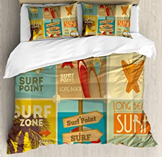 Lunarable Surf Duvet Cover Set, Retro Posters Group Summer Vacation Theme Hobby Water Sports California Beach, Decorative 3 Piece Bedding Set with 2 Pillow Shams, Queen Size, Pale Brown
