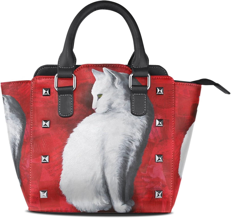 My Little Nest Women's Top Handle Satchel Handbag White Cat Painting Ladies PU Leather Shoulder Bag Crossbody Bag