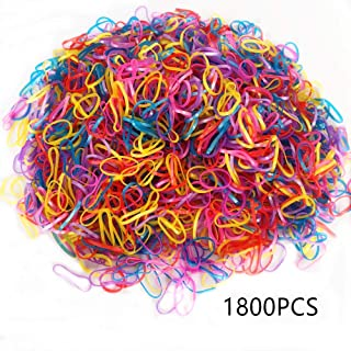 Colorful or black Elastic Hair Bands,Joyfeel 1800pcs Multi Color Hair Holder Hair Tie Elastic Bands for Baby Girls