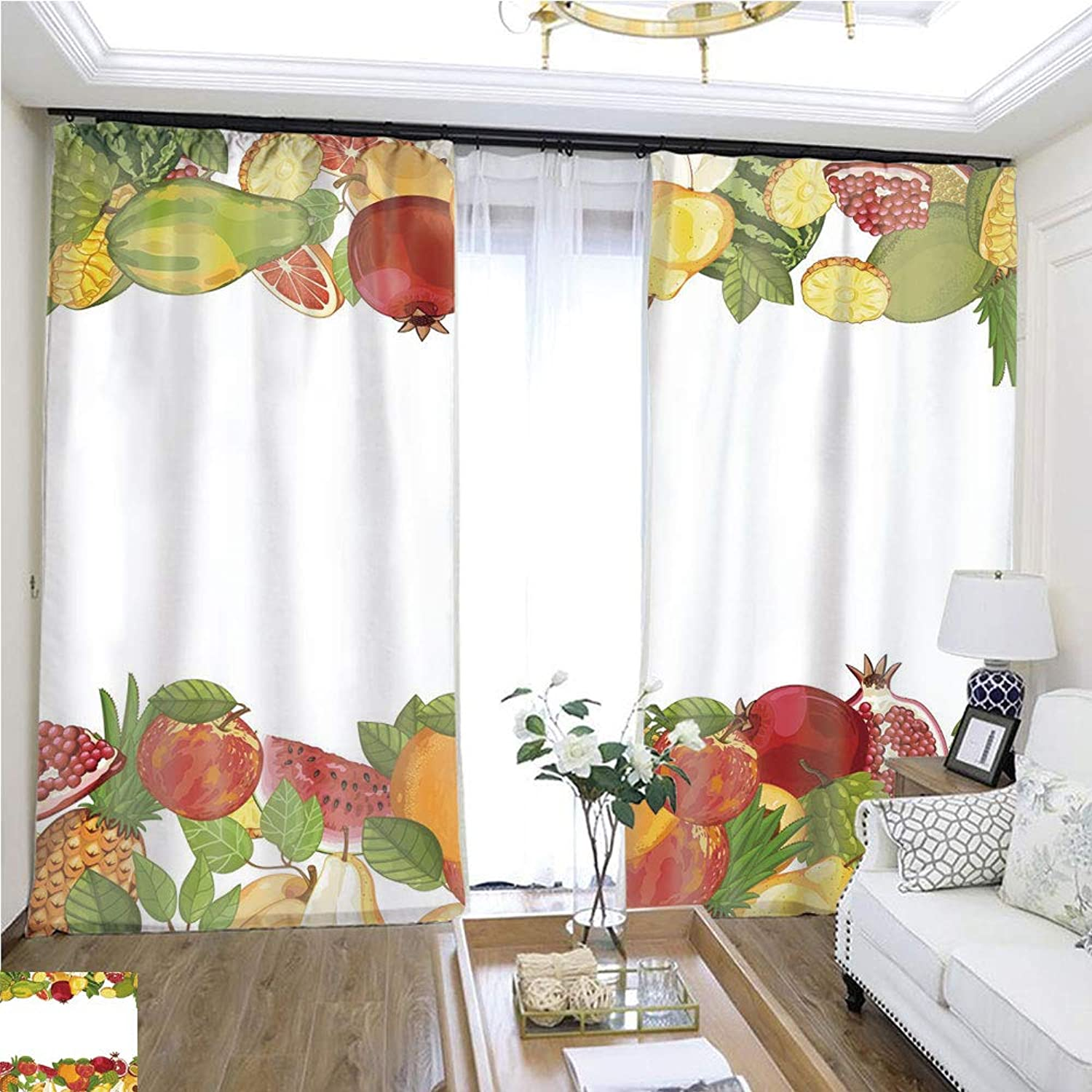 Air Port Screen Fruit Mix with Leaves on White background10 W96 x L180 Reduce Noise Highprecision Curtains for bedrooms Living Rooms Kitchens etc.