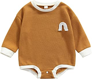 حديثي الولادة كتلة اللون رومبير، طفل رينبو نمط طويل الأكمام جولة الرقبة فاف منقوشة حلزات (Color : Brown, Size : 6M)