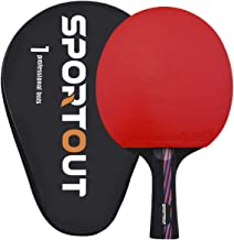 Sportout Sriver-He Rubber Table Tennis Paddle, Professional Pingpong Racket with Case, 9-ply Wood and 8-ply Carbon Blade