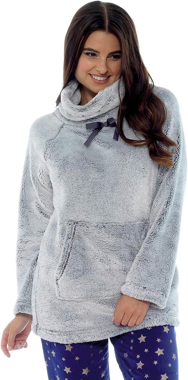 Lora Dora Pull chaud en polaire pour femme avec col /épais et confortable