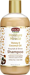 African Pride Moisture Miracle Honey & Coconut Oil Shampoo - For Natural Coils & Curls, Nourishes & Shines, Sulfate Free, Color Safe, 12 oz.