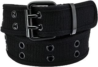 Canvas Web Belts for Men Women,Double Grommet Hole Buckle Belt