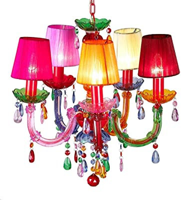 BeadedString Gypsy Chandelier-Acrylic Bead-Shaded Pendant Light (Multi-Colored, 5 arm)