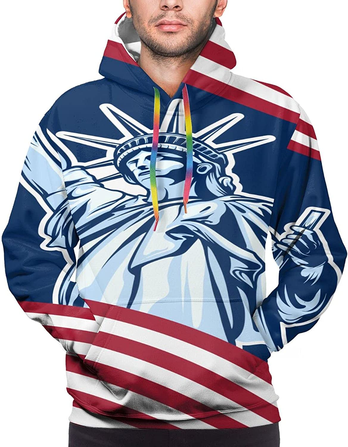 White Ren Indefinitely Striped American Flag Liberty Quantity limited Print Unisex Statue S 3D