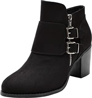 Women's Wide Width Ankle Boots - Low Chunky Heel Foldover Buckle Zipper Martin Boots,Warm Ankle Booties.