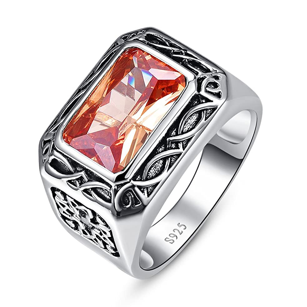 動的追加する胆嚢JUQEEN メンズリング 6.75CT エメラルドカット作成 モルガナイト スターリングシルバー925 指輪 プレゼント ギフト 記念日 素敵 結婚指輪 パーテイー 【一年保証】