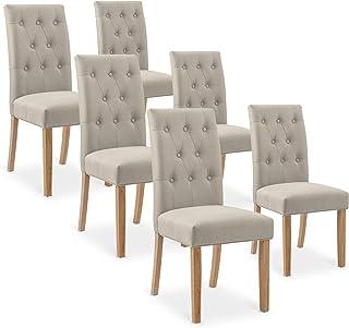 INTENSEDECO Lot de 6 chaises capitonnées Gaya Tissu Beige