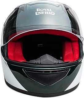 Royal Enfield Green & White Full Face With Visor Helmet Size (M)58 CM (RRGHEK000028)(Multicolor)
