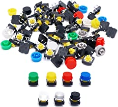 TWTADE/70pcs 4 Pin Tact Tactile Push Button Switch Momentary 12x12x7.3mm with Multicolored Switch Cap (Each Color 10pcs)
