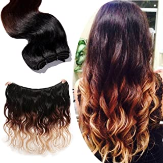 7A Ombre Body Wave 16'' Unprocessed Brazilian Remy Virgin Human Hair Weave Extensions with Baby Hair Natural Black to Light Auburn to Dark Blonde(#1B/#33/#27)