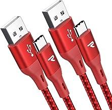 RAMPOW Câble USB Type C vers USB [20cm/Lot de 2] Garantie à Vie - Charge Ultime Rapide - Câble USB C Nylon Tressé en Fibre pour Samsung S10/S9/S8/Note 9, Sony Xperia, Honor, LG - Rouge